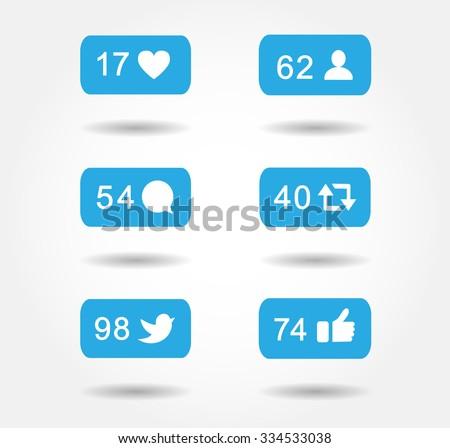 blue button icon set like