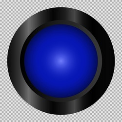 Blue button in black frame on transparent background for web. Isolated vector object. EPS 10