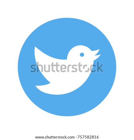 Blue button with bird icon. Vector illustration.