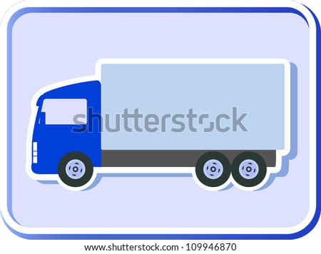 blue button with isolated truck silhouette on background