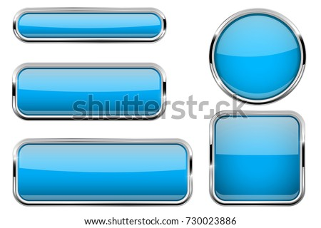 Blue buttons set. Glass icons with metal frame. Vector 3d illustration isolated on white background