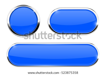 Blue buttons. Set of web icons with chrome frame. Vector illustration isolated on white background