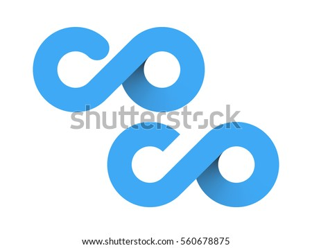 blue c and o vector logo design style infinity sign Foto stock ©