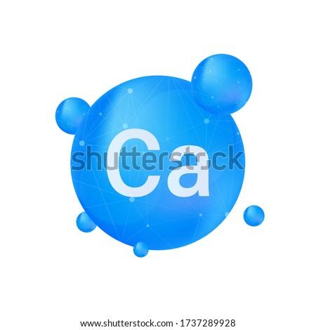 Blue calcium on white background. Calcium mineral. Ca pill capsule. Vector illustration. Stock photo ©