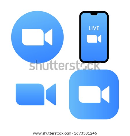 Blue camera icon - Live media streaming application for the phone, conference video calls with several people at the same time vector icon zoom