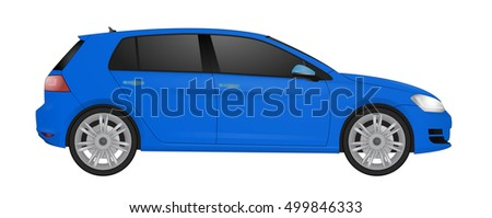 blue car hatchback isolated on