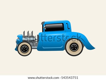 blue car  hot rod vector
