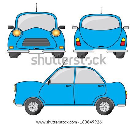 blue car illustration  side