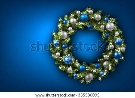 blue card with christmas wreath