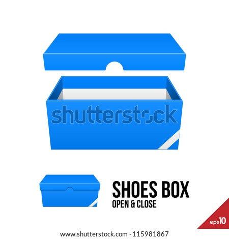 Blue Cardboard Shoes Box Carton Package Open With Lid Ready For Your Design Product Packing Vector EPS10