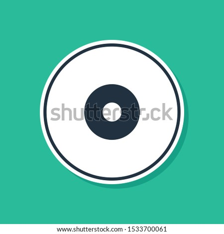 Blue CD or DVD disk icon isolated on green background. Compact disc sign.  Vector Illustration Сток-фото ©
