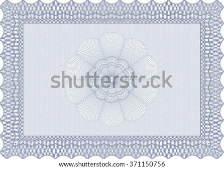 Blue Certificate. Complex design. Detailed. Printer friendly.