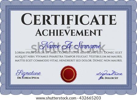 Blue Certificate. Complex design. Printer friendly. Detailed.