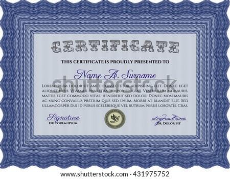 Blue Certificate. Detailed. Complex design. Printer friendly.