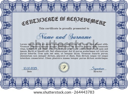 Blue Certificate, Diploma of completion with guilloche pattern and background, border, frame. Certificate of Achievement, Certificate of education, awards, winner.