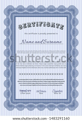 Blue Certificate of achievement. Customizable, Easy to edit and change colors. Complex background. Excellent design.