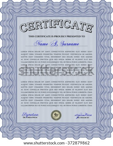 Blue Certificate of achievement. With complex linear background. Vector certificate template. Retro design.