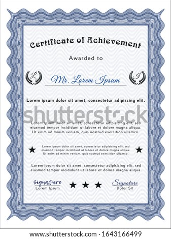 Blue Certificate of achievement. With guilloche pattern. Sophisticated design. Customizable, Easy to edit and change colors.