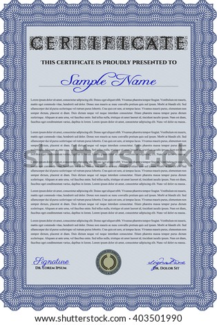 Blue Certificate or diploma template. Cordial design. Easy to print. Customizable, Easy to edit and change colors.