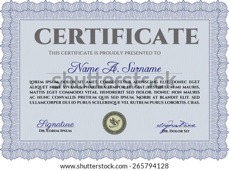 blue certificate or diploma template with sample text background