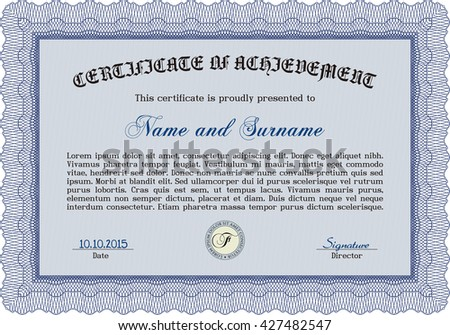 Blue Certificate template. Cordial design. Customizable, Easy to edit and change colors. Easy to print.