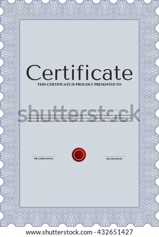 Blue Certificate template or diploma template. Beauty design. Vector pattern that is used in currency and diplomas.Complex background.