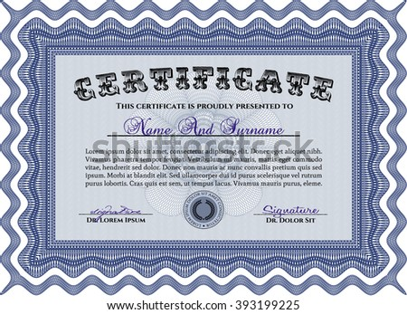 Blue Certificate template or diploma template. Complex background. Vector pattern that is used in currency and diplomas.Beauty design.