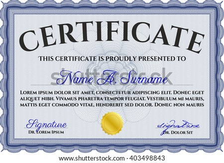 Blue Certificate template or diploma template. Complex background. Vector pattern that is used in currency and diplomas.Superior design.