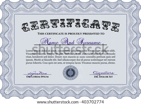 Blue Certificate template or diploma template. Superior design. Complex background. Vector pattern that is used in currency and diplomas.