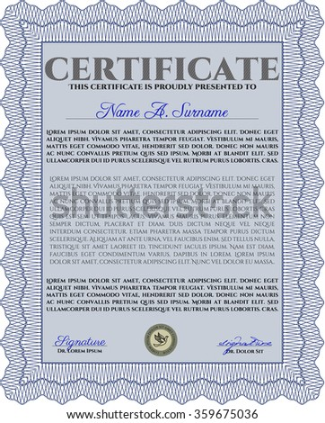 Blue Certificate template or diploma template. Vector illustration.Excellent design. With guilloche pattern.