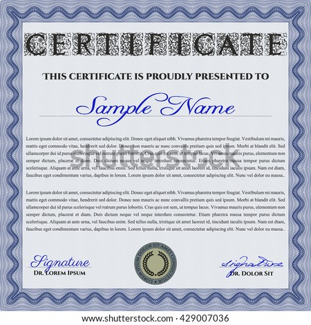 Blue Certificate template or diploma template. Vector pattern that is used in currency and diplomas.Superior design. Complex background.