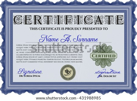 Blue Certificate template or diploma template. Vector pattern that is used in currency and diplomas.Complex background. Superior design.