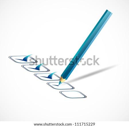 Blue check list. Vector illustration