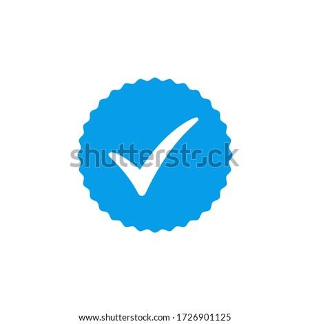 Blue check mark icon vector design, profile verified badge Stockfoto ©