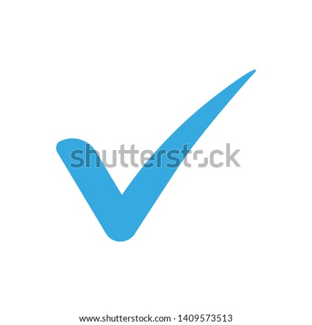 blue check mark icon. Vector illustration. Flat design for business financial marketing banking advertising web concept cartoon illustration.