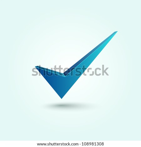 Blue check mark symbol isolated on blue background.