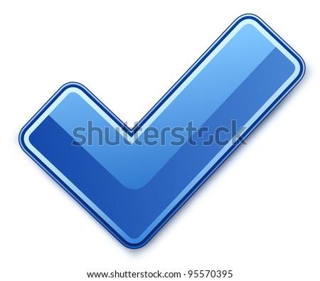 Blue check mark. Vector illustration