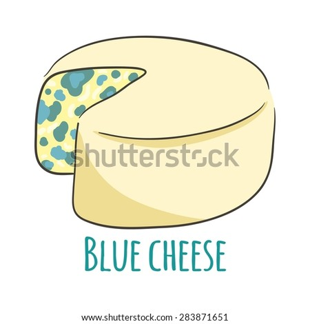 Blue cheese. Isolated with the inscription