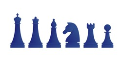 Blue chess pieces icons isolated on white background. King, queen, bishop, knight, rook and pawn figures set. Sport equipment for strategy game vector illustration. Chess pieces for tournament board