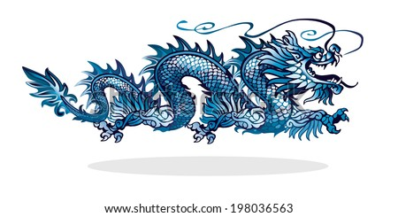 blue chinese dragon on white