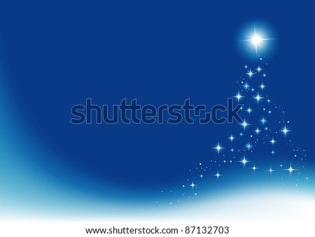Blue Christmas Abstraction - colored abstract illustration, vector