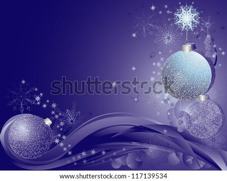 Blue christmas background with baubles. - stock vector