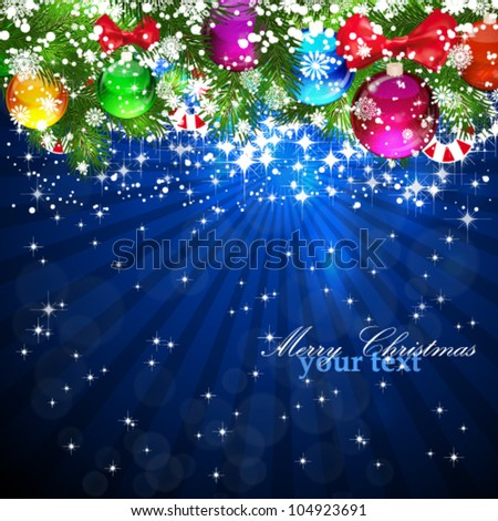 Blue Christmas Background with bright Christmas tree balls. Eps10.