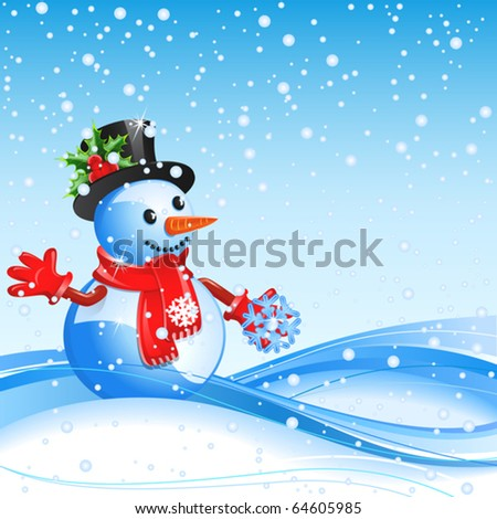 Blue christmas background with  snowman and snowflake