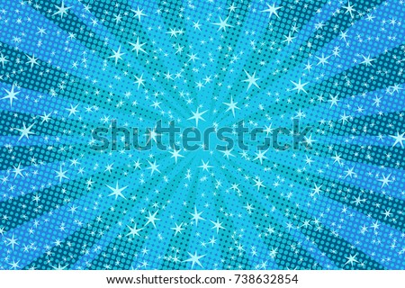 blue Christmas background with stars. Pop art retro vector illustration