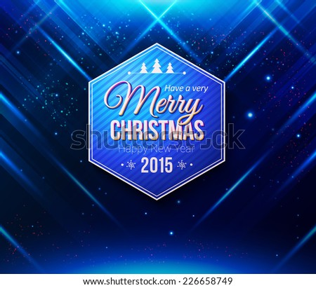Blue Christmas card Abstract striped background with light effects Vector image