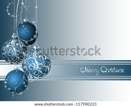 Blue Christmas card with Christmas balls and snowflakes - stock vector