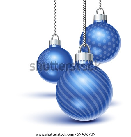 Blue christmas ornaments hanging over white
