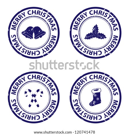 Blue christmas rubber stamps - stock vector