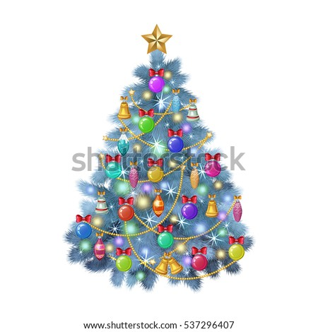 blue christmas tree with